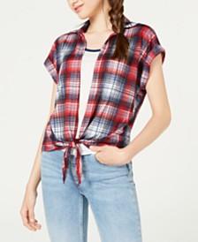 Crave Fame Juniors' Plaid Shirt & Tank Top