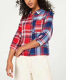 Juniors' Two-Tone Button-Front Flannel Shirt