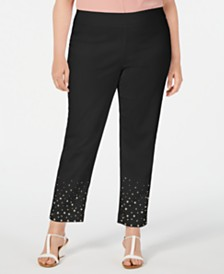 JM Collection Plus Size Studded Ankle Pants, Created for Macy's