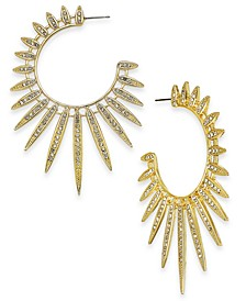 Gold-Tone Crystal Sun Spike Extra Large Hoop Earrings , Created for Macy's