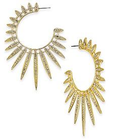 Thalia Sodi Gold-Tone Crystal Sun Spike Hoop Earrings, Created for Macy's
