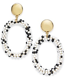 I.N.C. Gold-Tone Black & White Bead Oval Drop Earrings, Created for Macy's
