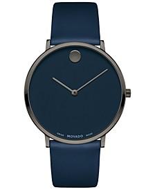 Men's Swiss Ultra Slim Blue Leather Strap Watch 40mm