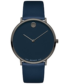 Movado Men's Swiss Ultra Slim Blue Leather Strap Watch 40mm