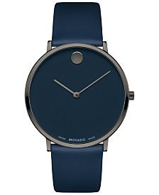 Movado Men's Swiss Ultra Slim Blue Leather Strap Watch 40mm