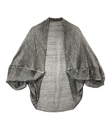 Laundry by Shelli Segal Crinkle Metallic Ruffle Sleeve Cocoon