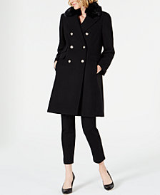 Vince Camuto Double-Breasted Coat with Faux-Fur-Collar
