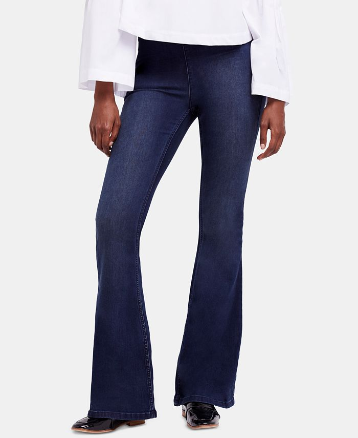 Free People - Gummy Pull-On Dark Blue Wash Flared Jeans