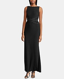 Satin-Trim Jersey Gown