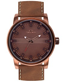 Tavan Haven Men's Watch Brown Leather Strap, Bronze Case, Brown Dial, 50mm