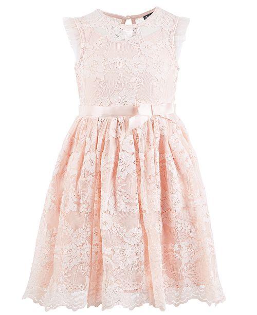 Pink & Violet Toddler Girls Scalloped-Hem Lace Dress