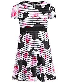 Us Angels Big Girls Floral-Print Striped Dress