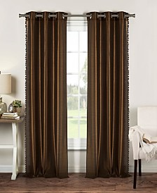 "Bali 38"" x 84"" Pompom Trim Faux Silk Curtain Set"