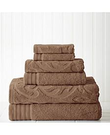 6-Pc. Jacquard/Solid Medallion Swirl Towel Set