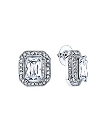 2028 Silver-Tone Crystal Octagon Button Earrings
