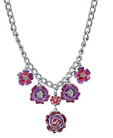"""Silver-Tone Purple and Pink Enamel Flower Necklace 16"""" Adjustable"""
