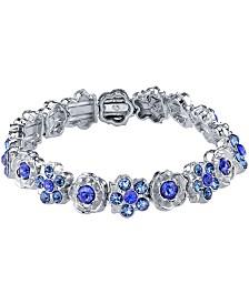 2028 Silver-Tone Blue Flower Stretch Bracelet
