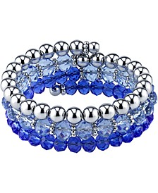 Silver-Tone Sapphire Blue Beaded Coil Bracelet