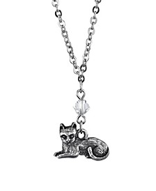 "Pewter Cat Drop Necklace 16"" Adjustable"