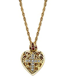 Symbols of Faith 14K Gold-Dipped Crystal Heart Cross Locket Necklace 18""