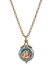 14K Gold-Dipped Blue Enamel Mary and Child Locket Necklace 18""