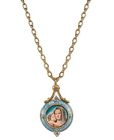 Symbols of Faith 14K Gold-Dipped Blue Enamel Mary and Child Locket Necklace 18""