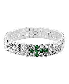 Symbols of Faith Silver-Tone Green Rhinestone Cross Stretch Bracelet