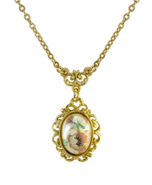 """Gold-Tone Flower Decal Oval Drop Necklace 16"""" Adjustable"""