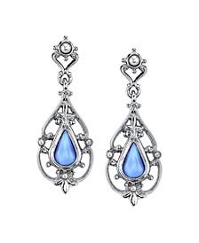 Silver-Tone Filigree and Imitation Blue Moonstone Teardrop Earrings