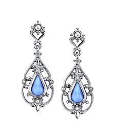 Downton Abbey Silver-Tone Filigree and Imitation Blue Moonstone Teardrop Earrings