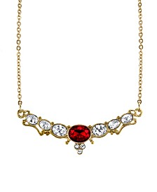 """Downton Abbey Gold-Tone Crystal Elegant Oval Stone with Red Center Collar Necklace 16"""" Adjustable"""