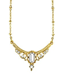 "Downton Abbey Gold-Tone Edwardian with Crystal Baguette Center Collar Necklace 16"" Adjustable"
