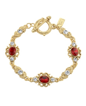 Vintage Style Jewelry, Retro Jewelry Downton Abbey Gold-Tone Red and Clear Crystals Link Toggle Bracelet $35.00 AT vintagedancer.com