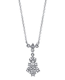 "Silver-Tone Crystal Petite Belle Epoch Starburst Drop Pendant Necklace 16"" Adjustable"