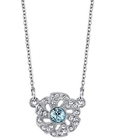 "Downton Abbey Silver-Tone Blue and Crystal Flower Necklace 16"" Adjustable"
