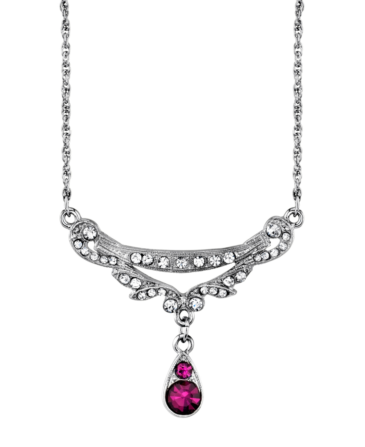 Downton Abbey Silver-Tone Clear and Amethyst Color Crystal Necklace 16