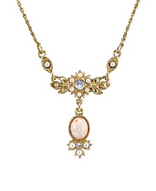 "Gold-Tone Peach Color Simulated Pearl and Crystal Necklace 16"" Adjustable"