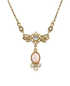"Downton Abbey Gold-Tone Peach Color Simulated Pearl and Crystal Necklace 16"" Adjustable"