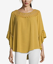JohnPaulRichard Flowy Lace Neck Top