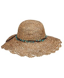 Crocheted Seagrass Hat with Beaded Band