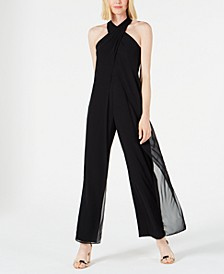Twisted Halter-Neck Chiffon Jumpsuit
