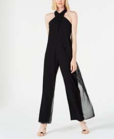 Tahari ASL Twisted Halter-Neck Chiffon Jumpsuit