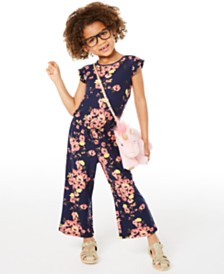 Epic Threads Little Girls Floral-Print Flutter-Sleeve Jumpsuit, Created for Macy's