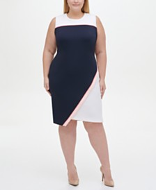 Tommy Hilfiger Plus Size Colorblocked Asymmetrical Scuba Dress