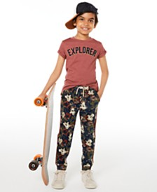 Epic Threads Little Boys Explorer T-Shirt & Stretch Floral-Print Twill Joggers, Created for Macy's