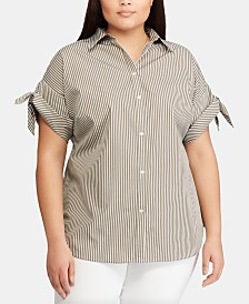Lauren Ralph Lauren Plus-Size Tie-Sleeve Cotton Shirt