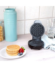 Bella Mini Waffle Maker, Silver with Happy Face