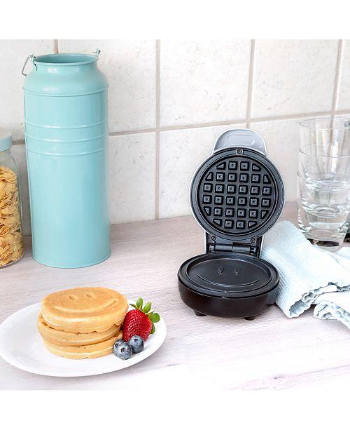 Bella Mini Waffle Maker, Silver with Happy Face