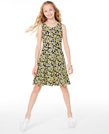 Epic Threads Big Girls Sunflower-Print Criss-Cross Dress, Created for Macy's