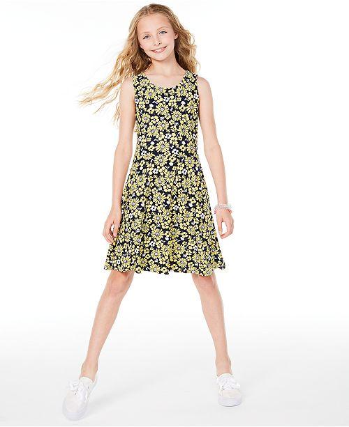 Epic Threads Big Girls Sunflower-Print Criss-Cross Dress, Created for Macy's